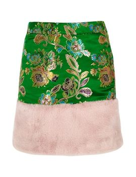 Girls Green Jacquard Faux Fur Trim Mini Skirt by River Island