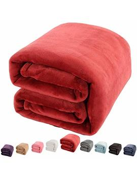 """Shilucheng Luxury Fleece Blanket Super Soft And Warm Fuzzy Plush Lightweight Throw Couch Bed Blankets Mini Size 43"""" X 60""""   Burgundy by Shilucheng"""