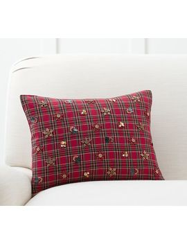 Jeweled Plaid Lumbar Pillow Cover by Pottery Barn