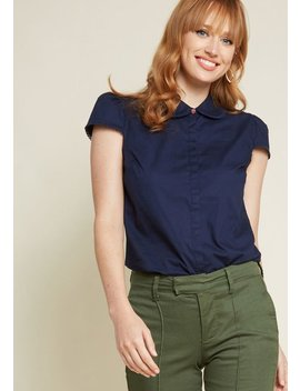 Off To A Good Start Up Cap Sleeve Blouse In Navy by Modcloth