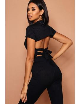 High Neck Tie Back Jumbo Rib Top by Boohoo
