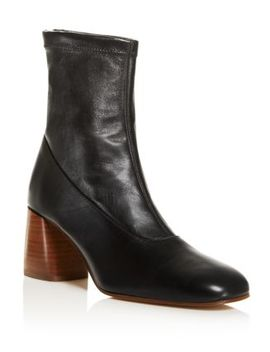 Women's Dalia Square Toe Mid Heel Leather Booties by Creatures Of Comfort