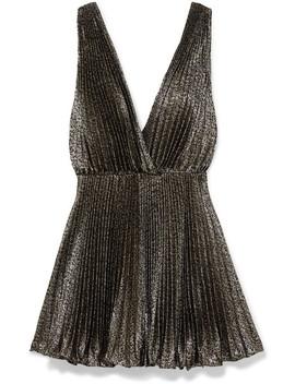 Plissé Lamé Mini Dress by Saint Laurent
