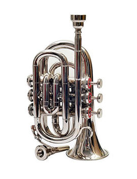 Trumpet Pocket W/ 3 Valves W/Free Case Box & Mouthpiece Brand New Pure Chrome*** by Sai Musical