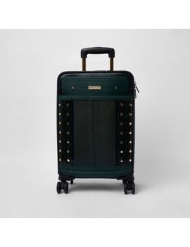 Dark Green Snake Print Studded Suitcase by River Island