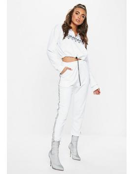 White Reflective Detail Stripe Joggers by Missguided