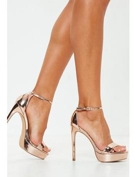 Rose Gold Simple Strap Platform Sandals by Missguided