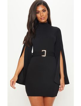 Black High Neck Flare Sleeve Belted Bodycon Dress by Prettylittlething