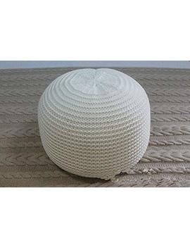 New Style Knitted Woolen Round Cushion Pouf (White) by Ahloyalty