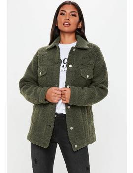 Tall Khaki Oversized Borg Jacket by Missguided