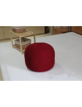 New Style Knitted Woolen Round Cushion Pouf (Grey) by Ahloyalty