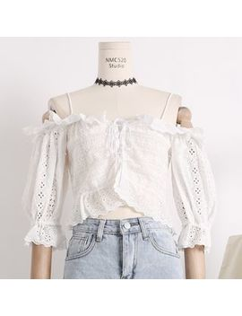 Lemongrass   Boatneck Cropped Lace Top by Lemongrass
