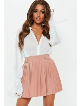 Petite Nude Pleated Military Button Mini Skirt by Missguided