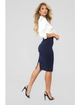 My Go To Midi Skirt   Navy by Fashion Nova