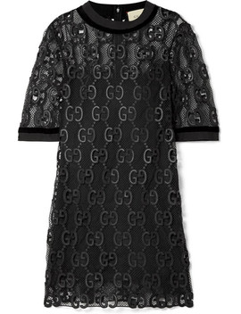 Velvet And Grosgrain Trimmed Macramé Mini Dress by Gucci