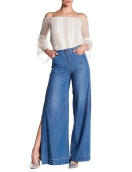 Clarissa Wide Leg Side Split Jeans by Alice + Olivia