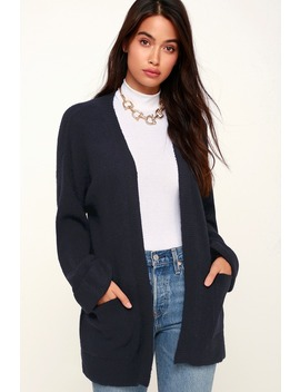 Donna Navy Blue Open Front Cardigan by Olive + Oak
