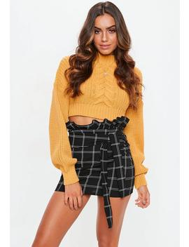 Black Check Paper Bag Mini Skirt by Missguided