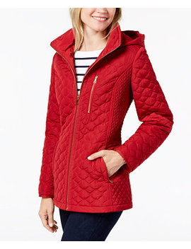 Hooded Quilted Puffer Coat by Jones New York