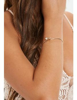 Gold Look Diamante Fine Bangle by Missguided