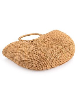 Natural Chic Hand Woven Round Handle Ring Toto Retro Large Casual Summer Beach Handbags (Yellow Grass 15.7x12 H Inches) by Dokot