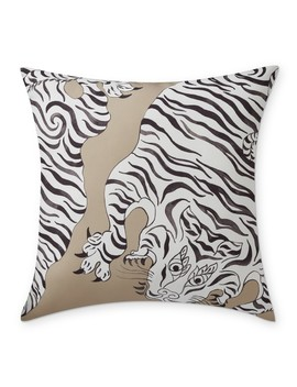 """Outdoor Painted Tibetan Tiger Pillow, 22"""" X 22"""", Sand/Gray by Williams   Sonoma"""