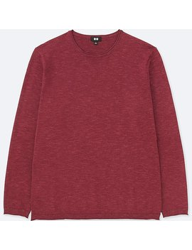 Men Mix Yarn Crew Neck Long Sleeve Sweater by Uniqlo