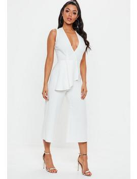 White Plunge Front Culotte Jumpsuit by Missguided