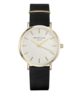 Analog West Village Goldtone Leather Strap Watch by Rosefield