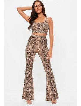 Brown Snakeprint Flared Pants And Bralet Co Ord Set by Missguided