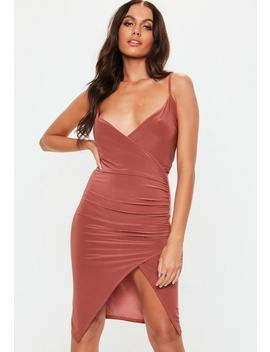 Rust Strappy Slinky Wrap Bodycon Dress by Missguided