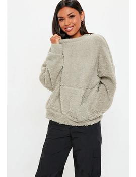 Stone Borg Pocket Front Cropped Sweatshirt by Missguided