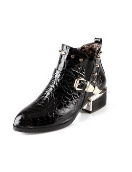 Xda 2018 Classical Fashion Patent Leather Women Ankle Boots Rivets Pointed Toe Buckle Martin Boots Mid Heel Motorcycle Boot F434 by Xda