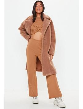 Camel Wide Leg Ribbed Trousers by Missguided