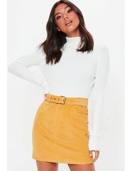 Mustard Corduroy Buckle Detail Mini Skirt by Missguided