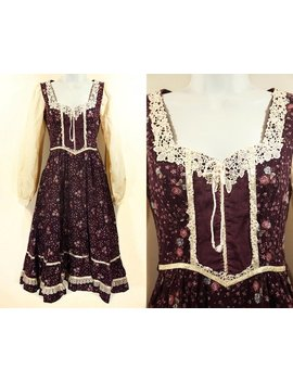 Vintage 70's Gunne Sax By Jessica San Francisco Purple Floral Dress Xs by Etsy