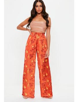 Orange Satin Floral Print Wide Leg Trousers by Missguided