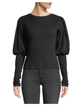 Lyon Ribbed Bishop Sleeve Crewneck Top by Veronica Beard