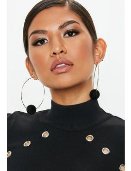 Gold Look Fabric Ball Hoop Earrings by Missguided