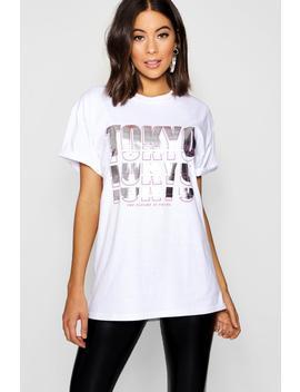 Tokyo Slogan Metallic T Shirt by Boohoo