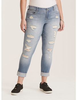 Premium Stretch Boyfriend Jeans   Light Wash With Ripped Destruction by Torrid