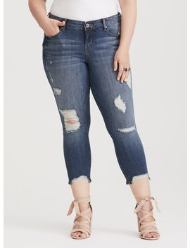 Runway Collection   Classic Skinny Ankle Jean   Distressed Medium Wash by Torrid