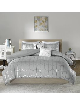 Intelligent Design Raina Comforter Set King/Cal King Size   Grey Silver, Geometric – 5 Piece Bed Sets – Ultra Soft Microfiber Teen Bedding For Girls Bedroom by Intelligent Design