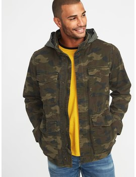 Built In Flex Stowaway Hood Camo Military Jacket For Men by Old Navy