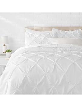 Amazon Basics Pinch Pleat Comforter Set   Full/Queen, Bright White by Amazon Basics