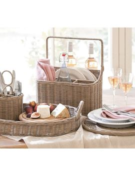 Willow Woven Picnic Caddy Gray by Pottery Barn