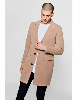 Single Breasted Wool Mix Overcoat by Boohoo