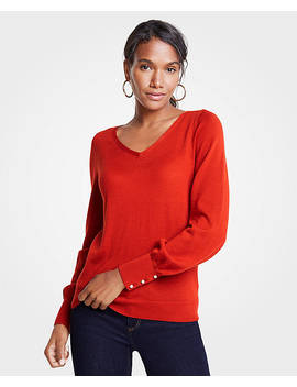 Petite Pearlized Cuff V Neck Sweater by Ann Taylor