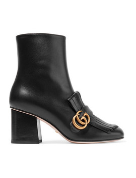 Marmont Ankle Boots Aus Leder Mit Haferlasche Und Logoverzierung by Gucci