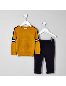 Mini Boys Dark Yellow Embossed Jumper Outfit by River Island